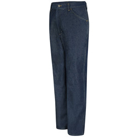 Red Kap Men's Rigid Cotton 5 Pocket Work Jeans - Red Kap denim jeans with left angle view of front hip pocket. Front view.