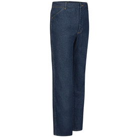 Red Kap Men's 5 Pocket Cotton Denim Work Jeans - Red Kap jeans with right angle view of right hip front pocket. Front view.