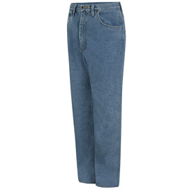 Red Kap Men's 5 Pocket Denim Relaxed Fit Work Jeans - Red Kap blue jeans with left angle view of front hip pocket and belt loops. Front view.