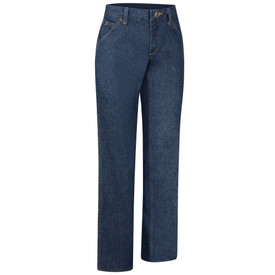 Red Kap Women's Straight Fit Denim 5 Pocket Work Jeans - Red Kap dark blue jeans with right angle view of front hip pocket and belt loops. Front view.