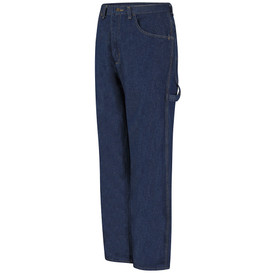 Red Kap Men's Loose Fit Denim Work Jeans - Red Kap blue jeans  pants with left angle view of hip front pocket, tool loop and belt loops. Front view.