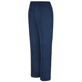 Red Kap Women's Elastic Waist 2 Pocket Housekeeping Pants - Red Kap left angle view of  blue pants with elastic waist and Curve cut. 2 Front line pleats. Front view.