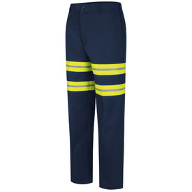 Red Kap Men's Durable Press Hi-Viz Industrial Work Pant - Red Kap blue pants with let angle view of front hip pocket 2 double silver on yellow Hi-Viz tape around both upper legs and belt loops.