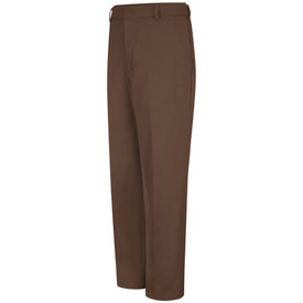 Red Kap Men's Durable Press Relaxed Fit Work Pant  - Red Kap brown pants with left angle view of font hip pocket and belt loops.