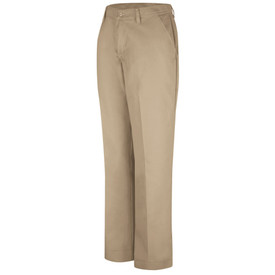 Red Kap Women's Durable Press Industrial Work Pant  - Red Kap khaki pants with left angle view of front hip pocket and belt loops. Front view.
