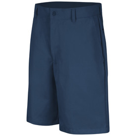 Red Kap Men's Plain Front Work Shorts - Red Kap  navy shorts with left angle view of front hip pocket, button closure and belt loops.