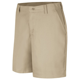 Red Kap Women's Plain Front Industrial Work Short - Red Kap tan shorts with left angle view of front hip pocket and belt loops. Front view.