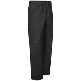Red Kap Men's Button Closure Automotive Work Pants - Red Kap black pants with right angle view of hip front pocket, right leg pocket and 2 reinforced knees