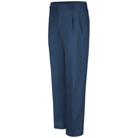 Red Kap Men's Pleated Front Work Pants - Red Kap navy pants with left angle front view of hip pocket, pleats leg creases and belt loops.
