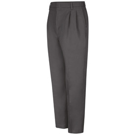 Red Kap Men's Pleated Front Lined Work Pants - Red Kap  charcoal pants with left angle front view of hip front pocket, pleats, crease and belt loops.