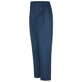 Red Kap Women's Pleated Front Lined Work Pants - Red Kap  navy pants with left angle front view of hip pocket, crease, pleats and belt loops.