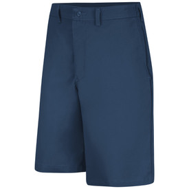 Red Kap Men's Side Elastic Button Front Work Shorts - Red Kap navy shorts with front view of hip pockets and belt loops.