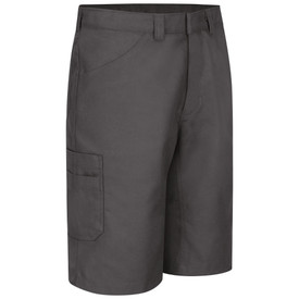Red Kap Men's Automotive Scratchless Button Shorts - Red Kap charcoal performance shorts with right angle front view of hip pocket, side leg pocket and belt loops.