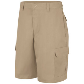 Red Kap Men's 6 Pocket Cargo Work Shorts - Red Kap khaki cargo shorts with left angle front view of side leg pockets, hip pocket, button closure, plain front and belt loops.