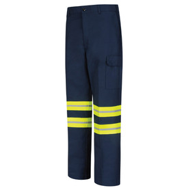Red Kap Men's Navy Hi-Viz  Industrial Cargo Work Pants - Red Kap navy pants with left angle front view of  2 silver on yellow reflective tape around both legs below the knees, side leg pocket with flap, hip pocket and belt loops.