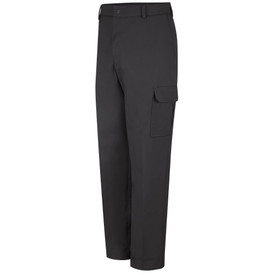 Red Kap Men's 6  Pockets Industrial Cargo Pants - Red Kap black cargo pants with left angle front view of side leg pocket with flap, hip pocket, belt loops and zipper and button closure.
