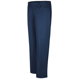 Red Kap Women's 3 Pockets Stretch Work Pants - Left angle front view of Red Kap navy work pants with hip pocket, button closure and belt loops. Front view.