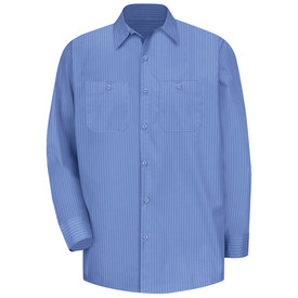Red Kap Men's Button Front 2 Pocket Pin Stripe Work Shirt - Red Kap blue stripe on blue long sleeve shirt with two piece collar and 7 button front for closure and with hex style pockets on both sides. Front view.
