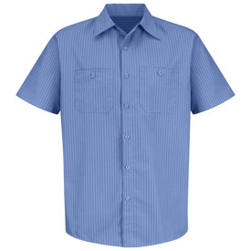 Red Kap Men's Pin Stripe 7 Button Front Industrial Work Shirt - Red Kap blue stripe on blue short sleeve shirt with collar and 7 button front closure. 2 Front chest pockets. Front view.