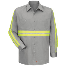 Red Kap Men's Cotton Hi-Viz  2 Pocket Work Shirt - Red Kap grey long sleeve work shirt with collar, 2 strips of  silver on  yellow Hi Viz tape going down the full length of both arms and across the chest, 7 button front closure and 2 chest pockets with button closure. Front view.