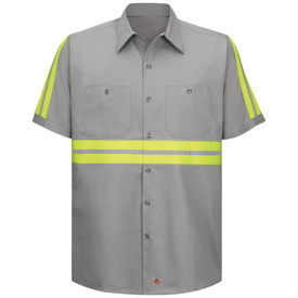 Red Kap Men's Cotton Hi-Viz 2 Pocket Work Shirt - Red Kap gray short sleeve shirt with collar, 2 yellow High visibility tape strips going across the mid section of the shirt and down both sleeves, 2 button closure pockets and 7 button front closure. Front view.
