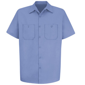 Red Kap Cotton 7 Button 2 Pocket Wrinkle Free Work Shirt - Red Kap light blue short sleeve shirt with collar, 2 front chest pockets and button closure. Front view.