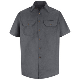 Red Kap Men's Button Short Sleeve Work Shirt - Red Kap charcoal poplin short sleeve shirt with collar, 2 front chest pockets button cover flaps and 7 buttons front closure. Front view.