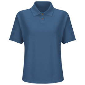 Red Kap Women's Polo Work Shirt - Red Kap marine blue short sleeve polo shirt with collar, 3 front buttons and no pockets. Front view.