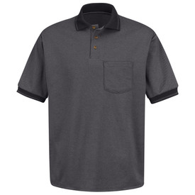 Red Kap Men's Twill Knit Polo Shirt - Red Kap black short sleeve polo shirt with charcoal collar and cuffs,  3 front buttons and 1 Front chest pocket. Front view.