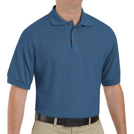Red Kap Poly Cotton Polo Shirt - A man wearing Red Kap short sleeve marine blue polo shirt with collar, 3 front buttons and no pockets. Man has polo shirt tucked inside pants and is wearing a belt. Front view.