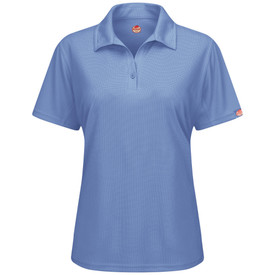 Red Kap Women's Wrinkle Snag Free Polo Shirt - Red Kap women's short sleeve medium blue polo shirt with collar, 1 button front and no pockets. front view.