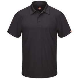 Red Kap Men's Flex Polo Shirt - Red Kap short sleeve black polo shirt with collar, 3 button front and pencil stall on left sleeve. front view.
