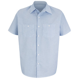 Red Kap Men's Striped 2 Pocket Industrial Work Shirt - Red Kap short sleeve white and blue striped work dress shirt with collar, button cuffs, 7 button front and 2 chest button pockets. front view.