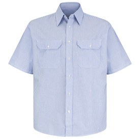 Red Kap Men's Short Sleeve Pinstripe Uniform Shirt - Red Kap long sleeve white and blue striped work dress shirt with collar, button cuffs, 7 button front and 2 chest button pockets with button flap covers. front view.