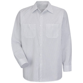 Red Kap Men's Long Sleeve Striped Industrial Work Shirt - Red Kap white and charcoal stripe long sleeve work shirt with collar and button sleeve cuffs, 2 front chest pockets and 7 button front closure. front view.
