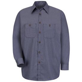 Red Kap Men's Poplin Long Sleeve Uniform Work Shirt - Red Kap long sleeve blue and charcoal Microcheck work shirt with collar, button cuffs, 7 button front closure and 2 button chest pockets. front view.