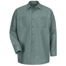 Red Kap Men's Industrial Long Sleeve Work Shirt -  Red Kap light green long sleeve work shirt with collar, button cuffs, 7 button front closure and 2 button chest pockets. front view.