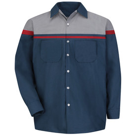 Red Kap Men's Automotive Tech Work Shirt - Red Kap navy/red/light grey performance long sleeve tech work shirt with navy/light grey/red trim on front. with collar and 5 front buttons. front view.