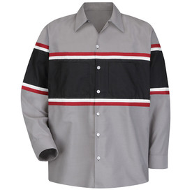 Red Kap Men's Multi Stripe Technician Work Shirt -Red Kap grey long sleeve work shirt with a very wide black strip going across the chest from under the arms to the waist and the front of both arms. A thin white and thin red strip is at the top and bottom of the wide black stripe. Shirt has a 7 button front closure, button cuffs and 2 button chest pockets on the wide black stripe.  front view.