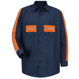 Red Kap Men's Long Sleeve Hi -Viz  Shirt - Red Kap navy long sleeve work shirt with silver on orange high visibility tape sewn down the full length of both sleeves, as well as, on both button chest pockets. Shirt also has collar, button cuffs and 7 button front closure.    front view.