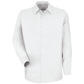 Red Kap Men's Poplin Pocketless Work Shirt - Red Kap white long sleeve pocketless work shirt with collar, snap cuffs and 7 snap front closure. front view.