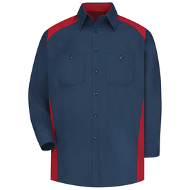 Red Kap Men's 2 Pocket Motorsports Shirt - Red Kap red on navy long sleeve work shirt with collar and button cuffs, 7 button front closure and 2 chest button pockets. Top of shoulders, inside collar and shirt sides are red. front view.