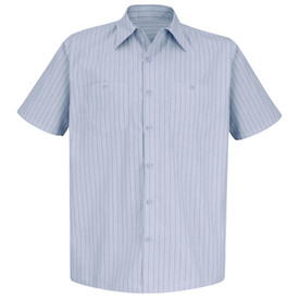 Red Kap Men's Stripe Short Sleeve 2 Pocket Work Shirt - Red Kap short sleeve navy stripe on light blue shirt with collar, 7 button front closure and 2 button chest pockets. front view.