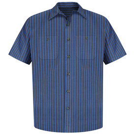 Red Kap Men's Short Sleeve Striped 2 Pocket Industrial Work Shirt - Red Kap grey and blue striped short sleeve work shirt with a collar, 7 button front closure and 2 chest button pockets. Front view.