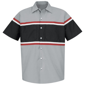 Red Kap Men's Multi Stripe Technician Work Shirt -Red Kap grey short sleeve work shirt with a very wide black strip going across the chest from under the arms to the waist and the front of both arms. A thin white and thin red strip is at the top and bottom of the wide black stripe. Shirt has a 7 button front closure, button cuffs and 2 button chest pockets on the wide black stripe.  front view.