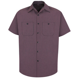 Red Kap Men's Pinstriped 7 Button Work Shirt - Red Kap charcoal and red striped short sleeve work shirt with button cuffs, collar, 7 button front closure and 2 button chest pockets. front view.