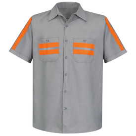 Red Kap Men's Poplin 2 Pocket Hi-Viz Trim Work Shirt - Red Kap grey short sleeve work shirt with silver on orange high visibility tape sewn down the full length of both sleeves, as well as, on both button chest pockets. Shirt also has collar, button cuffs and 7 button front closure.    front view.