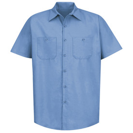 Red Kap Men's Popular 2 Pocket Solid Industrial Work Shirt -  Red Kap light blue short sleeve work shirt with collar, 7 button front closure and 2 button chest pockets. front view.