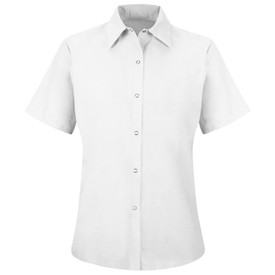 Red Kap Women's Food Processing Pocketless Work Shirt - Red Kap white short sleeve work shirt with collar, 6 snap front closure and no pockets.  front view.