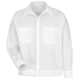 Red Kap Men's White 2 Pocket Shirt Jacket - Red Kap white long sleeve work shirt with collar, cuffs, 2 front chest pockets and concealed front closure. front view.